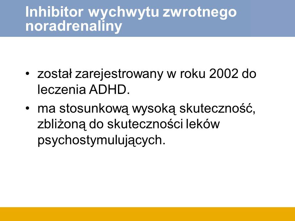 Inhibitor wychwytu zwrotnego noradrenaliny został zarejestrowany w roku 2002 do leczenia ADHD. ma stosunkową wysoką skuteczność, zbliżoną do skuteczno