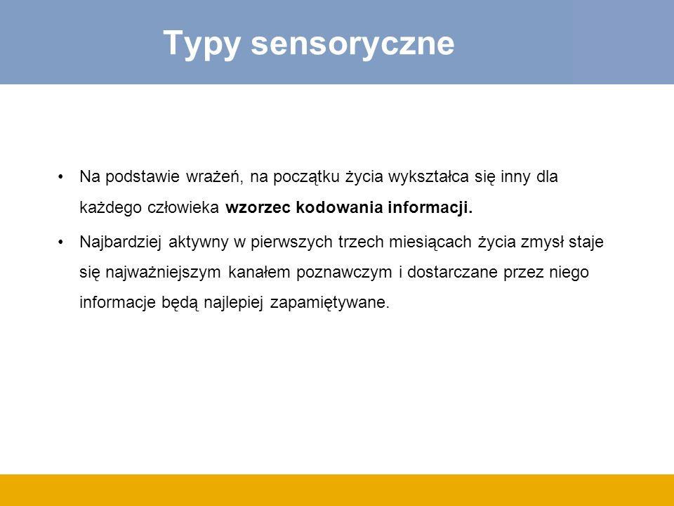 Typy sensoryczne Na podstawie wrażeń, na początku życia wykształca się inny dla każdego człowieka wzorzec kodowania informacji. Najbardziej aktywny w