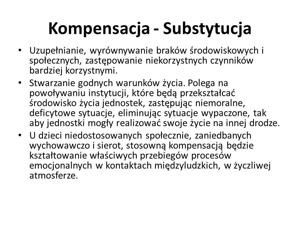 Kompensacja - Substytucja Uzupełnianie, wyrównywanie braków środowiskowych i społecznych, zastępowanie niekorzystnych czynników bardziej korzystnymi.