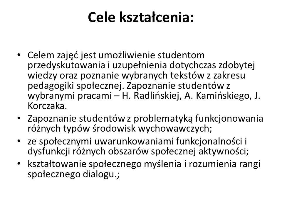 Treści kształcenia: - zapoznanie studentów z genezą i warunkami powstania pedagogiki społecznej w Polsce oraz na świecie; - analiza podstawowych pojęcia pedagogiki społecznej jak środowisko, środowisko wychowawcze, siły ludzkie, zmiana społeczna, wsparcie, pomoc, mała ojczyzna, kapitał ludzki i kapitał społeczny oraz ustalenie zasady organizowania środowiska z punktu widzenia potrzeb wychowania.; - tło społeczno-kulturowe, gospodarczo-polityczne narodzin pedagogiki społecznej; - przybliżenie sylwetek prekursorów oraz przedstawicieli tej dyscypliny; - wyjaśnienie reguł metodologii pedagogiki społecznej i stosowania odpowiednich procedur badawczych w diagnozowaniu różnorodnych środowisk wychowawczych.