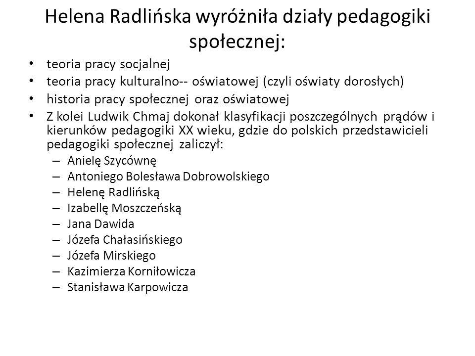 Helena Radlińska wyróżniła działy pedagogiki społecznej: teoria pracy socjalnej teoria pracy kulturalno-- oświatowej (czyli oświaty dorosłych) histori