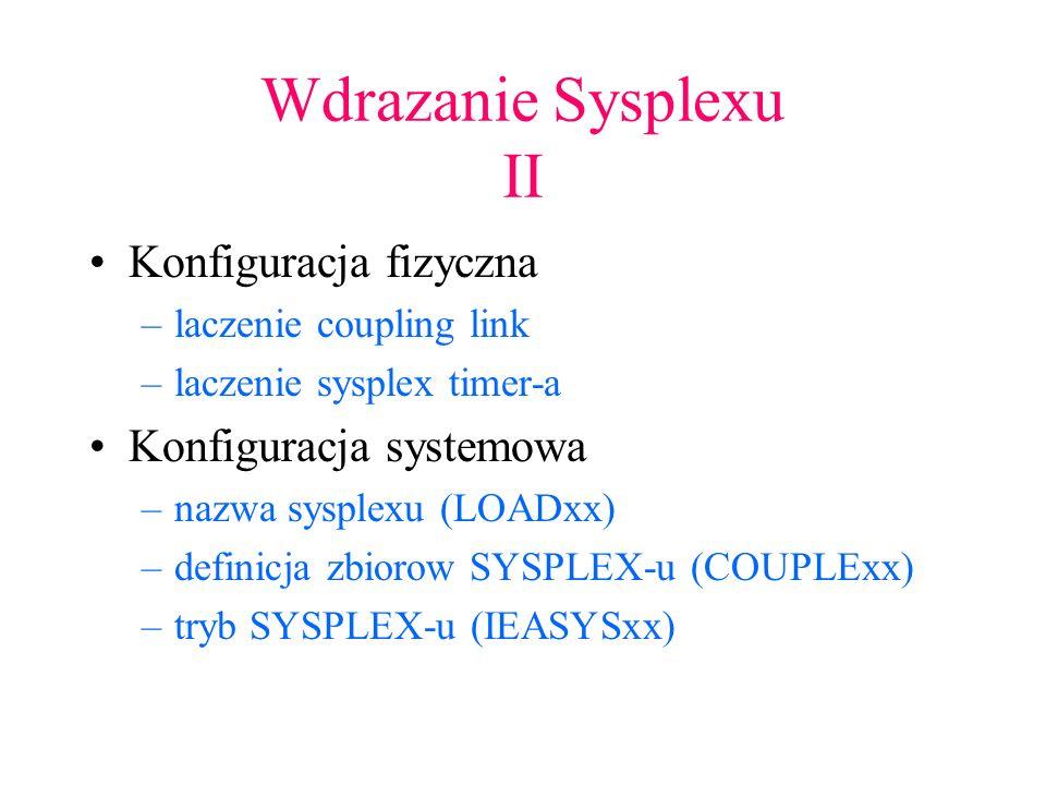 Elementy w strukturze Sysplex JES2 GRS VTAM –lacznosc pomiedzy VTAM-ami –generic appls CICS –temporary storage DB2