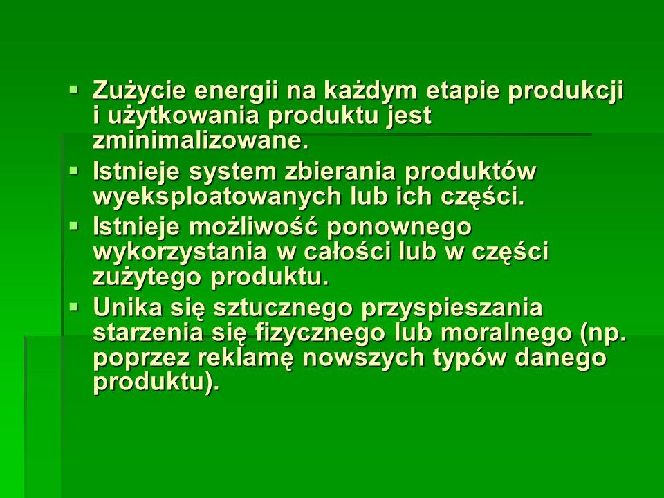 Zużycie energii na każdym etapie produkcji i użytkowania produktu jest zminimalizowane. Zużycie energii na każdym etapie produkcji i użytkowania produ
