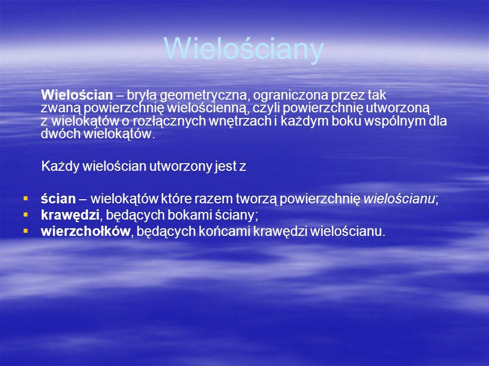 Wielościany Wielościan – bryła geometryczna, ograniczona przez tak zwaną powierzchnię wielościenną, czyli powierzchnię utworzoną z wielokątów o rozłąc