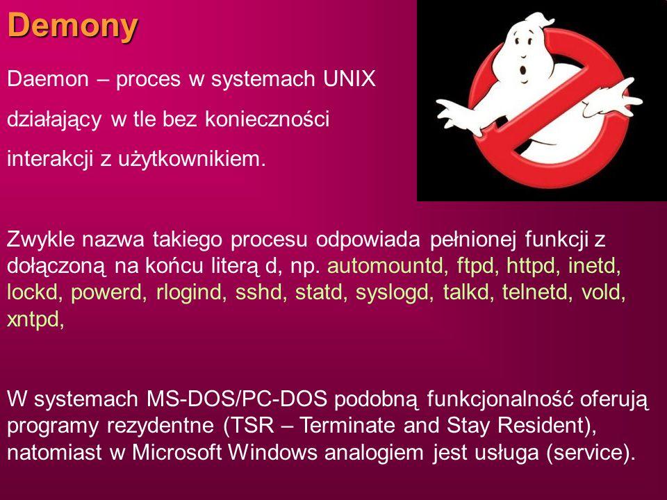 Demony Daemon – proces w systemach UNIX działający w tle bez konieczności interakcji z użytkownikiem. Zwykle nazwa takiego procesu odpowiada pełnionej