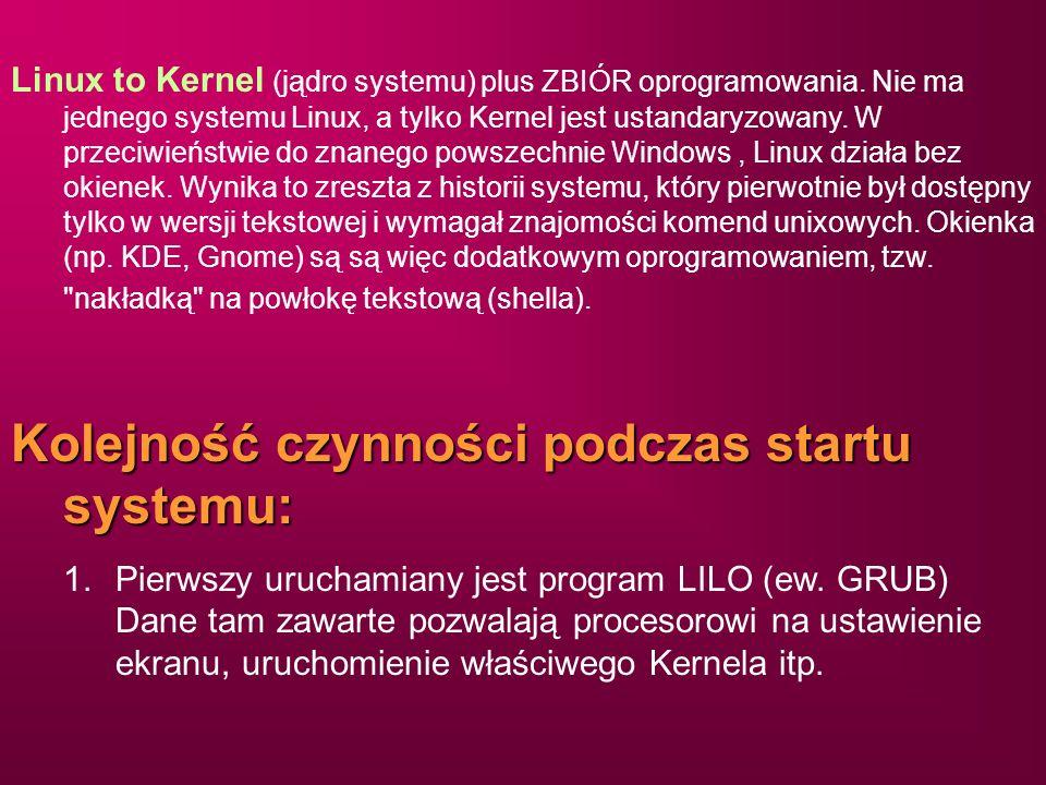 Linux to Kernel (jądro systemu) plus ZBIÓR oprogramowania. Nie ma jednego systemu Linux, a tylko Kernel jest ustandaryzowany. W przeciwieństwie do zna