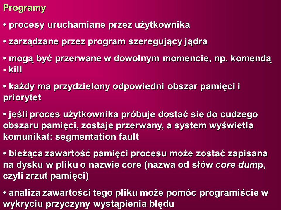 Programy procesy uruchamiane przez użytkownika procesy uruchamiane przez użytkownika zarządzane przez program szeregujący jądra zarządzane przez progr