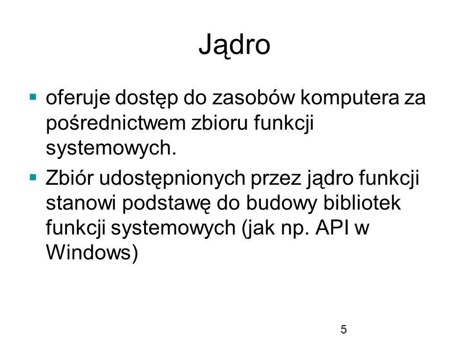 5 Jądro oferuje dostęp do zasobów komputera za pośrednictwem zbioru funkcji systemowych.