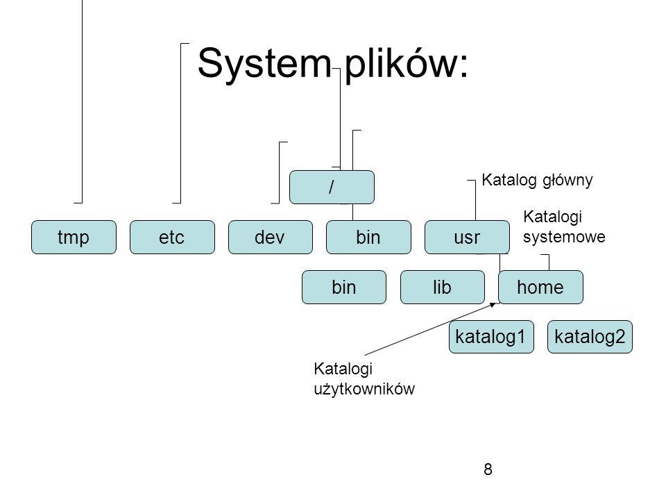 8 System plików: / tmpetcdevbinusr binhomelib katalog1katalog2 Katalog główny Katalogi użytkowników Katalogi systemowe