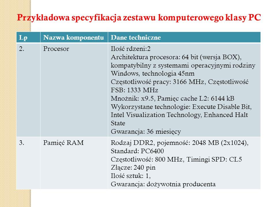 LpNazwa komponentuDane techniczne 2.ProcesorIlo ść rdzeni:2 Architektura procesora: 64 bit (wersja BOX), kompatybilny z systemami operacyjnymi rodziny