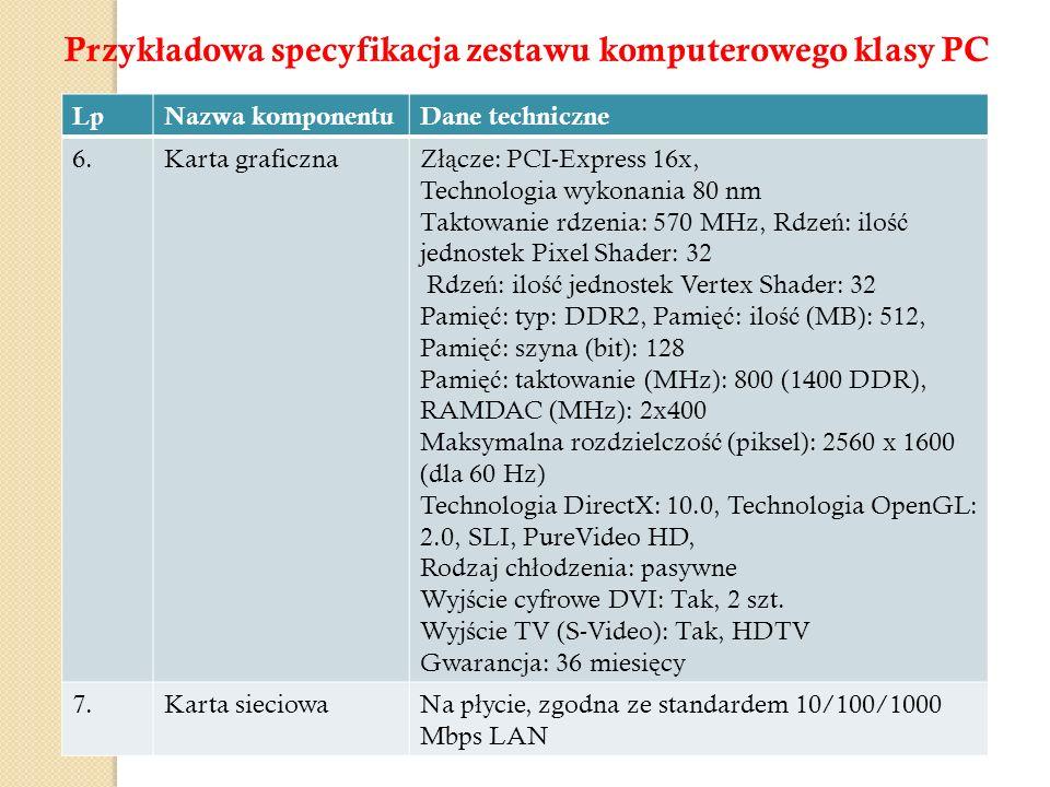 LpNazwa komponentuDane techniczne 6.Karta graficznaZ łą cze: PCI-Express 16x, Technologia wykonania 80 nm Taktowanie rdzenia: 570 MHz, Rdze ń : ilo ść