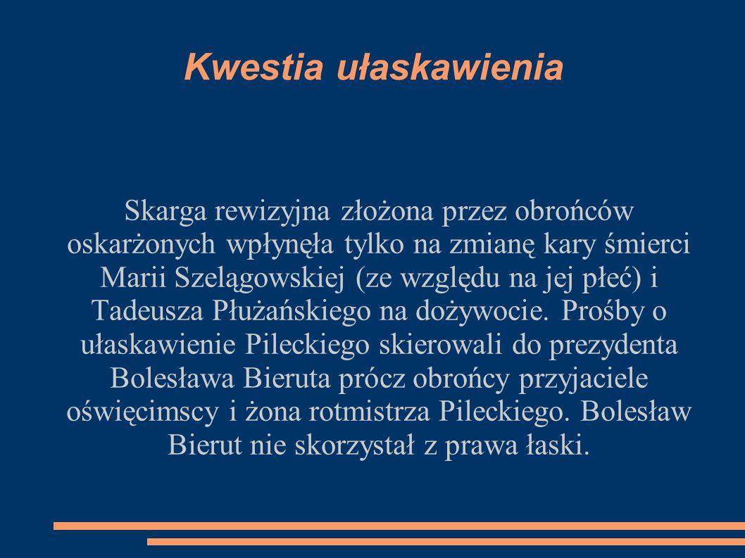 Kwestia ułaskawienia Skarga rewizyjna złożona przez obrońców oskarżonych wpłynęła tylko na zmianę kary śmierci Marii Szelągowskiej (ze względu na jej płeć) i Tadeusza Płużańskiego na dożywocie.