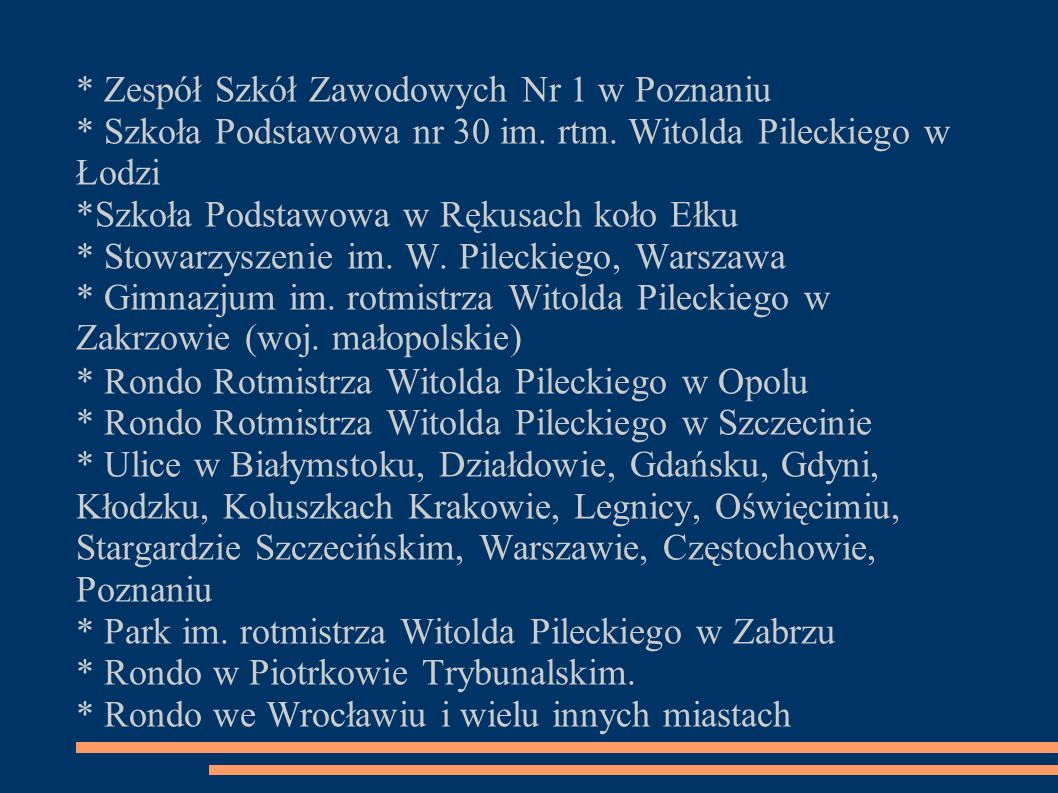 * Zespół Szkół Zawodowych Nr 1 w Poznaniu * Szkoła Podstawowa nr 30 im. rtm. Witolda Pileckiego w Łodzi *Szkoła Podstawowa w Rękusach koło Ełku * Stow