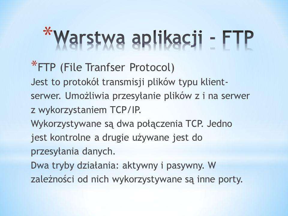 * FTP (File Tranfser Protocol) Jest to protokół transmisji plików typu klient- serwer.