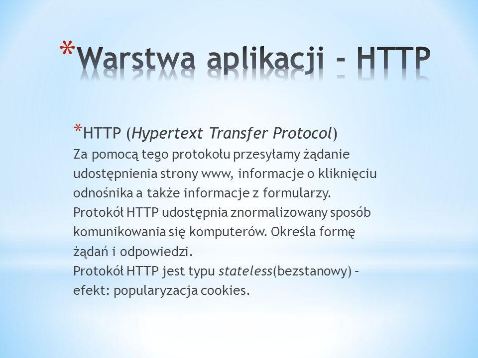 * HTTP (Hypertext Transfer Protocol) Za pomocą tego protokołu przesyłamy żądanie udostępnienia strony www, informacje o kliknięciu odnośnika a także informacje z formularzy.