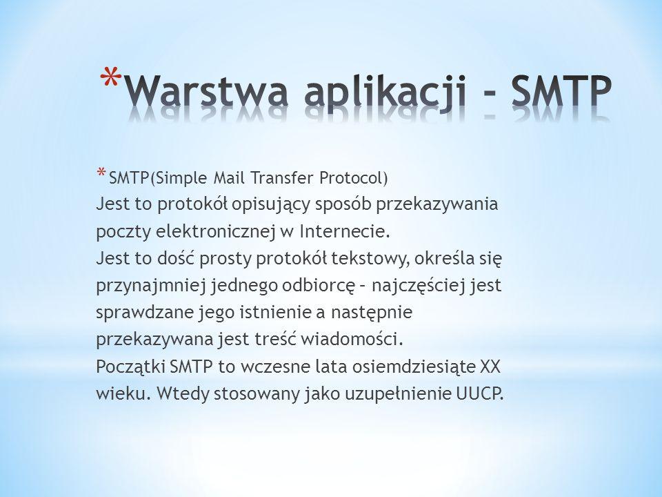 * SMTP(Simple Mail Transfer Protocol) Jest to protokół opisujący sposób przekazywania poczty elektronicznej w Internecie.