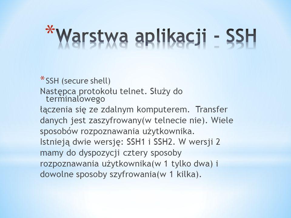 * SSH (secure shell) Następca protokołu telnet.