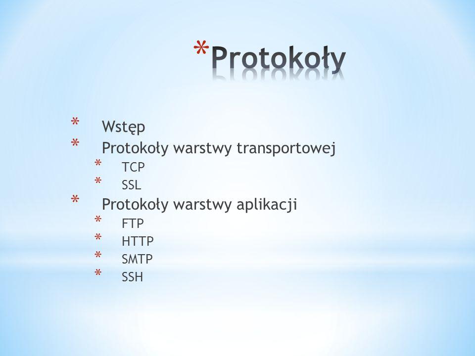 * Wstęp * Protokoły warstwy transportowej * TCP * SSL * Protokoły warstwy aplikacji * FTP * HTTP * SMTP * SSH