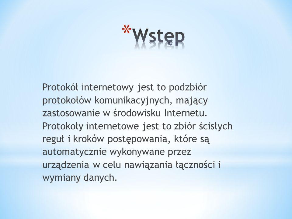 Protokół internetowy jest to podzbiór protokołów komunikacyjnych, mający zastosowanie w środowisku Internetu.