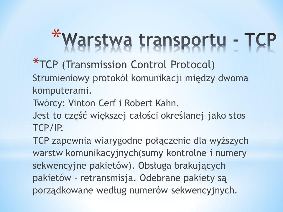* TCP (Transmission Control Protocol) Strumieniowy protokół komunikacji między dwoma komputerami.