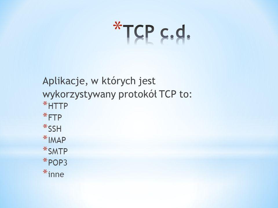 Aplikacje, w których jest wykorzystywany protokół TCP to: * HTTP * FTP * SSH * IMAP * SMTP * POP3 * inne