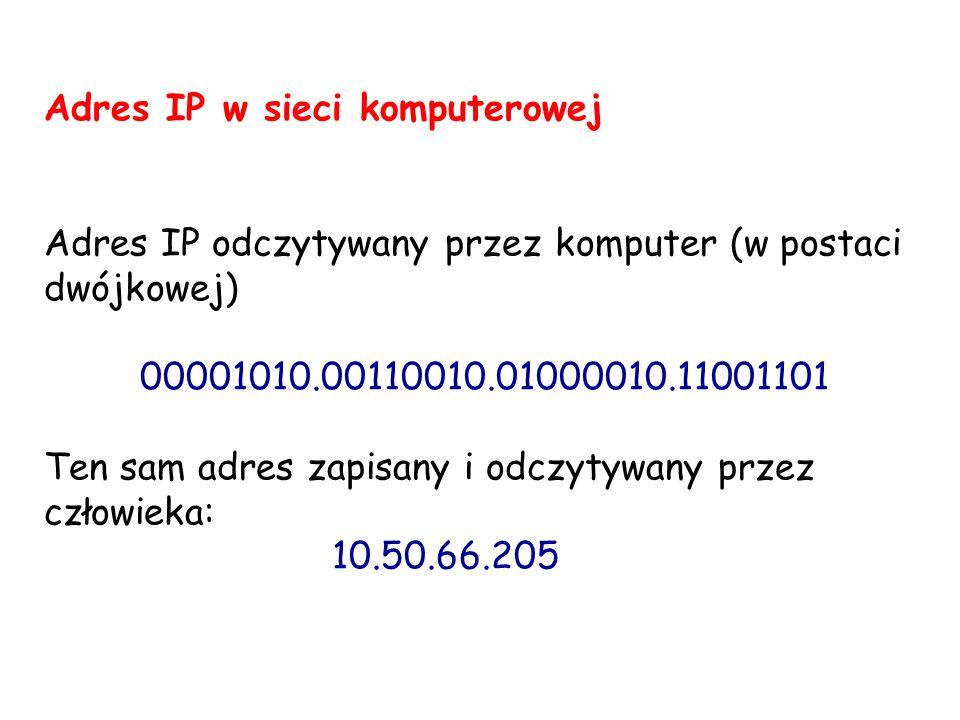 Adres IP w sieci komputerowej Adres IP odczytywany przez komputer (w postaci dwójkowej) 00001010.00110010.01000010.11001101 Ten sam adres zapisany i o