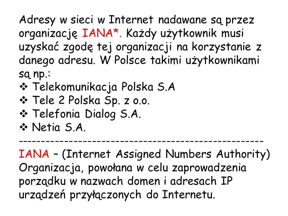 Adresy w sieci w Internet nadawane są przez organizację IANA*. Każdy użytkownik musi uzyskać zgodę tej organizacji na korzystanie z danego adresu. W P