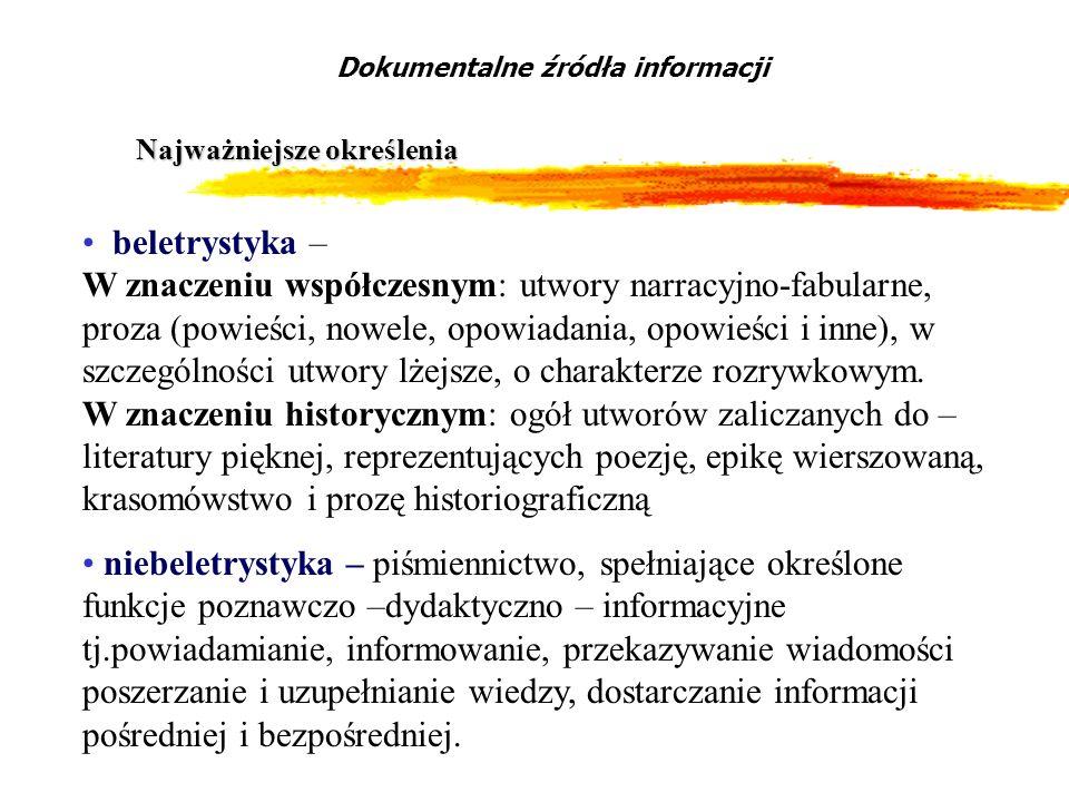 Podział piśmiennictwa niebeletrystycznego Współczesne piśmiennictwo niebeletrystyczne Podręczniki Dzieła naukowe i popularnonaukowe Wydawnictwa informacyjne Teksty prawne i polityczne Dokumenty życia społecznego Dokumentalne źródła informacji