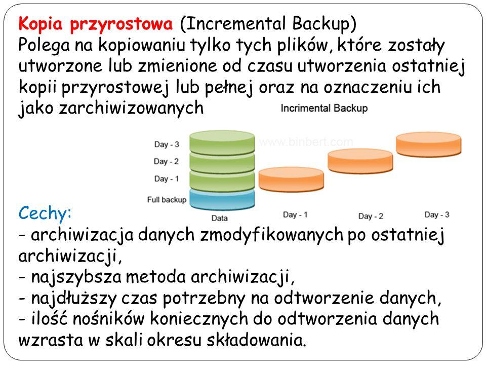 Kopia przyrostowa (Incremental Backup) Polega na kopiowaniu tylko tych plików, które zostały utworzone lub zmienione od czasu utworzenia ostatniej kop