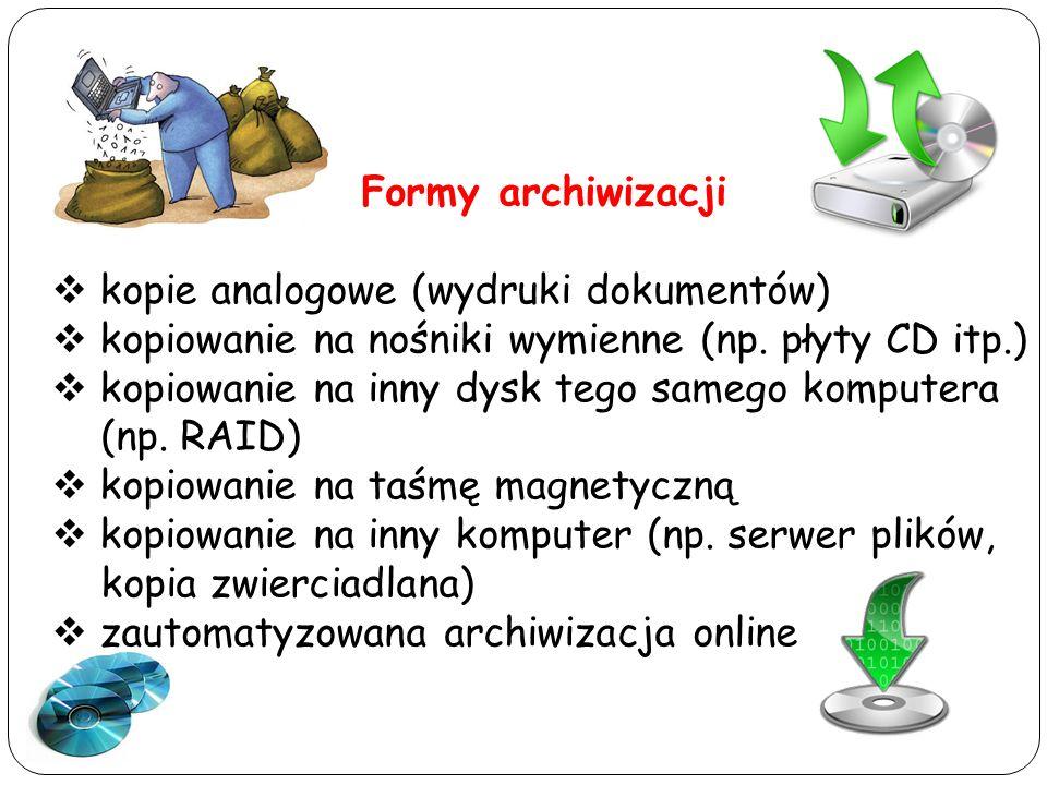 Formy archiwizacji kopie analogowe (wydruki dokumentów) kopiowanie na nośniki wymienne (np. płyty CD itp.) kopiowanie na inny dysk tego samego kompute