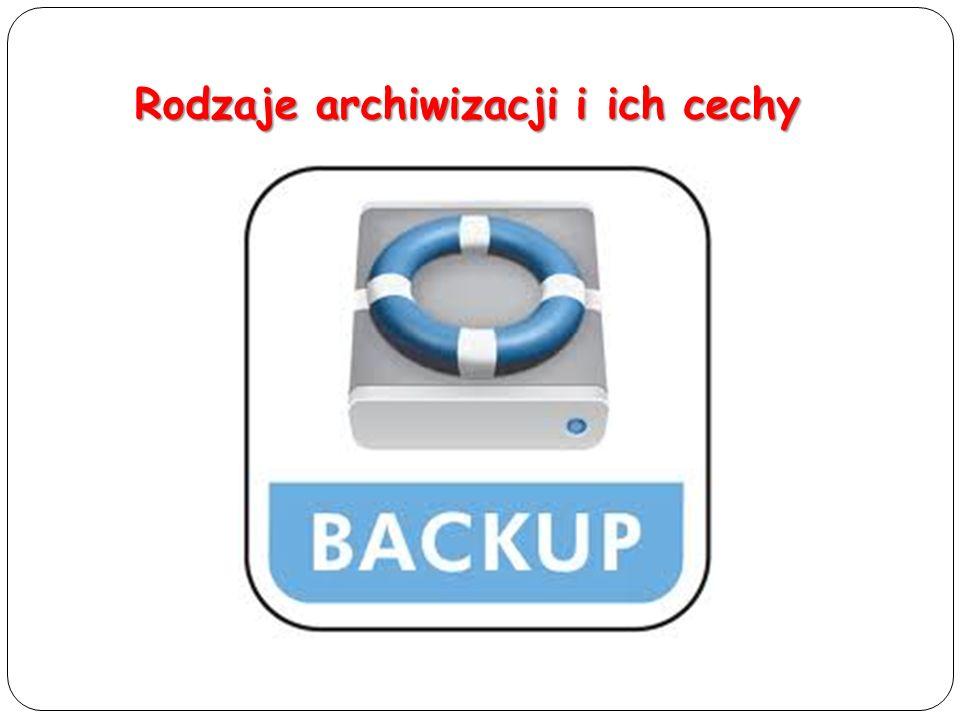 Kopia pełna (Full Backup) Polega na skopiowaniu wszystkich plików i oznaczeniu każdego jako zarchiwizowanego (usunięcie atrybutu archiwizacji) Cechy: - archiwizacja za każdym razem wszystkich danych, - najdłuższy czas potrzebny na archiwizację, - najkrótszy czas potrzebny na odtworzenie danych, - wszystkie dane znajdują się na jednym nośniku, ewentualnie komplecie.