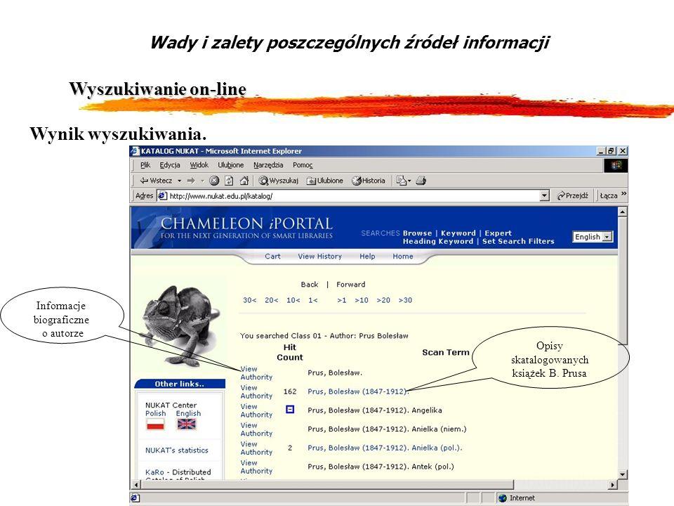 12 Wyszukiwanie on-line Wady i zalety poszczególnych źródeł informacji Wynik wyszukiwania. Informacje biograficzne o autorze Opisy skatalogowanych ksi