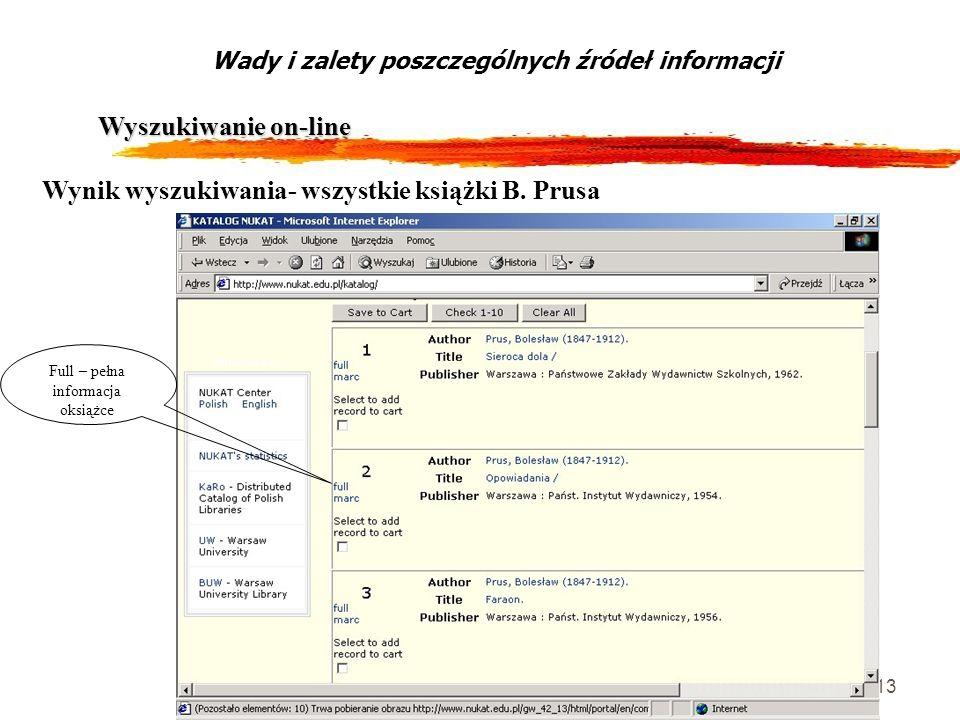 13 Wyszukiwanie on-line Wady i zalety poszczególnych źródeł informacji Wynik wyszukiwania- wszystkie książki B. Prusa Full – pełna informacja oksiążce