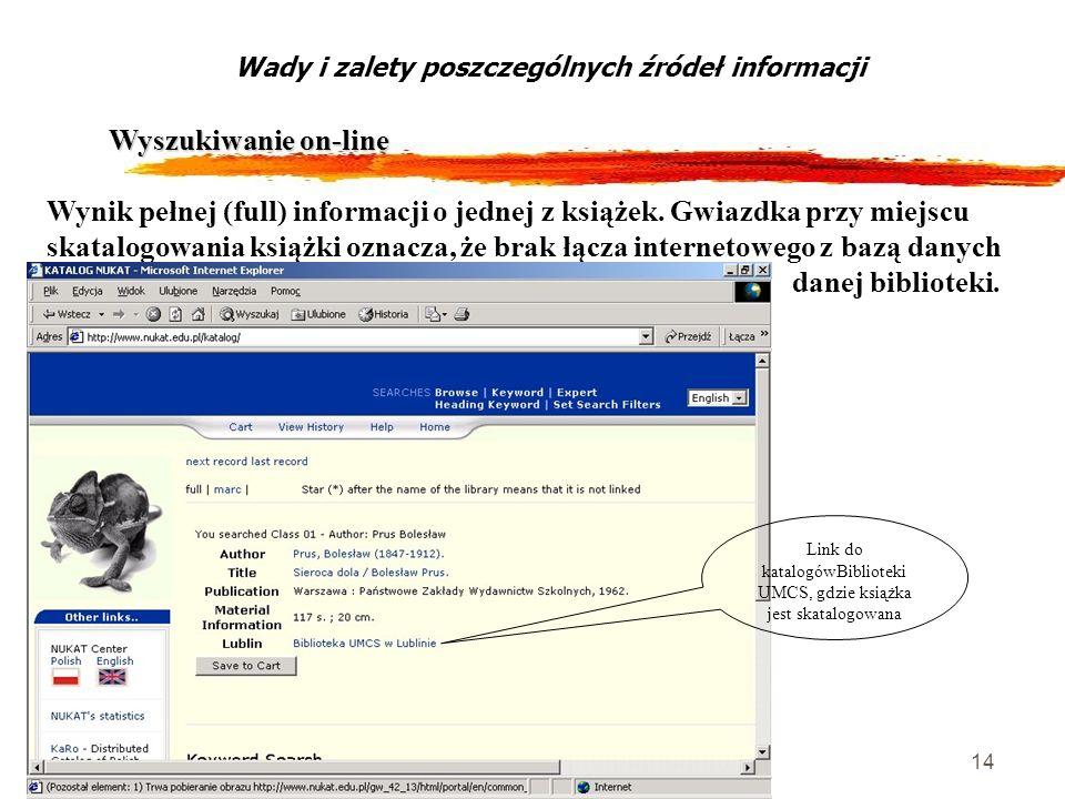 14 Wyszukiwanie on-line Wady i zalety poszczególnych źródeł informacji Wynik pełnej (full) informacji o jednej z książek. Gwiazdka przy miejscu skatal