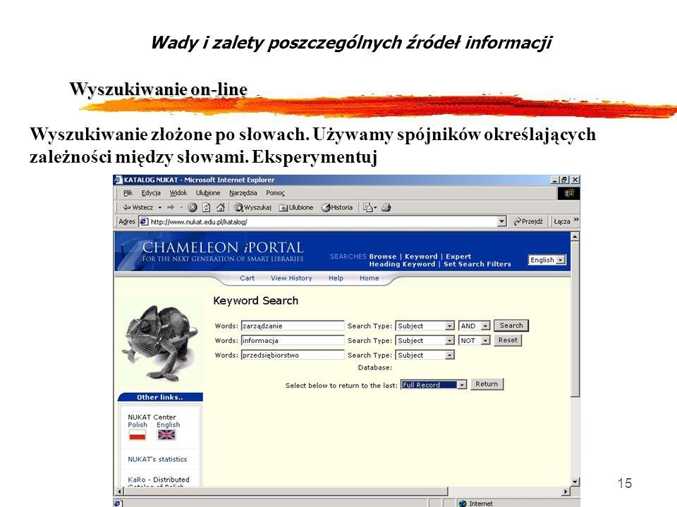 15 Wyszukiwanie on-line Wady i zalety poszczególnych źródeł informacji Wyszukiwanie złożone po słowach. Używamy spójników określających zależności mię