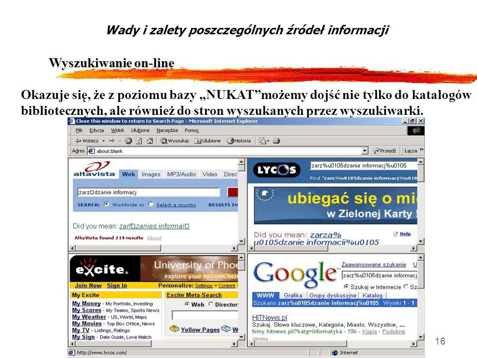 16 Wyszukiwanie on-line Wady i zalety poszczególnych źródeł informacji Okazuje się, że z poziomu bazy NUKATmożemy dojść nie tylko do katalogów bibliot