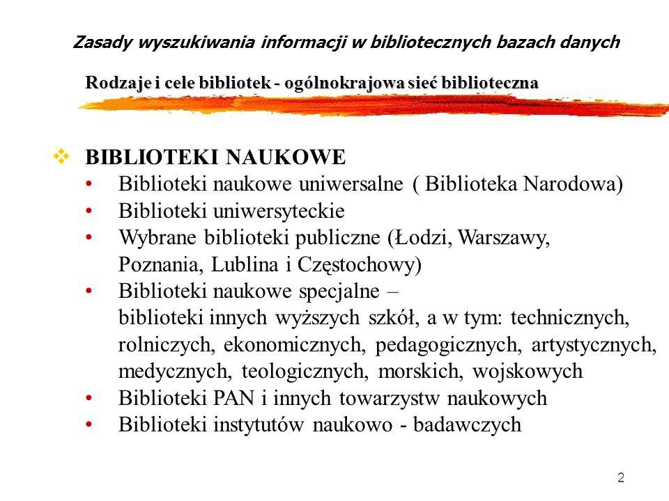 2 Zasady wyszukiwania informacji w bibliotecznych bazach danych Rodzaje i cele bibliotek - ogólnokrajowa sieć biblioteczna BIBLIOTEKI NAUKOWE Bibliote