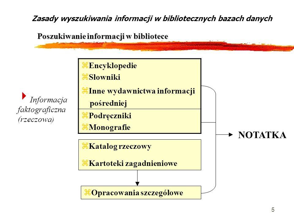 5 Zasady wyszukiwania informacji w bibliotecznych bazach danych Poszukiwanie informacji w bibliotece Informacja faktograficzna (rzeczowa ) zEncykloped