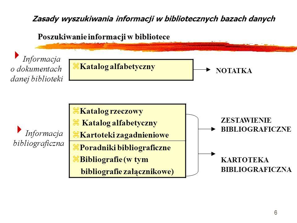 6 Zasady wyszukiwania informacji w bibliotecznych bazach danych Poszukiwanie informacji w bibliotece Informacja o dokumentach danej biblioteki zKatalo