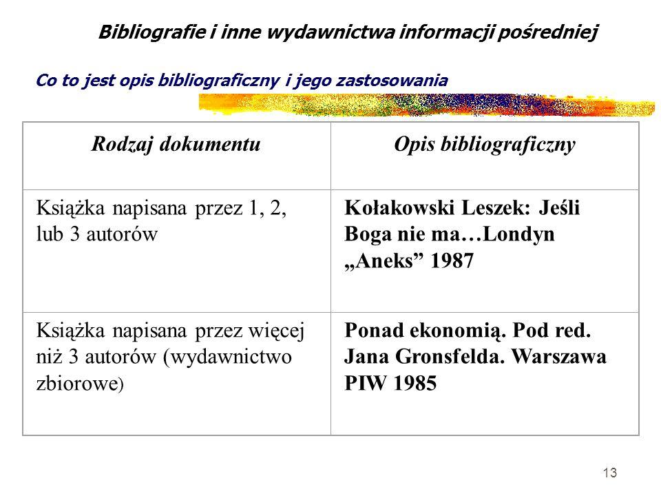 13 Bibliografie i inne wydawnictwa informacji pośredniej Co to jest opis bibliograficzny i jego zastosowania Rodzaj dokumentuOpis bibliograficzny Ksią