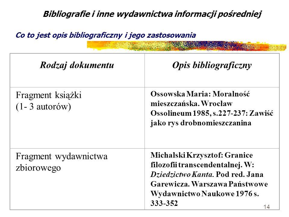 14 Bibliografie i inne wydawnictwa informacji pośredniej Co to jest opis bibliograficzny i jego zastosowania Rodzaj dokumentuOpis bibliograficzny Frag