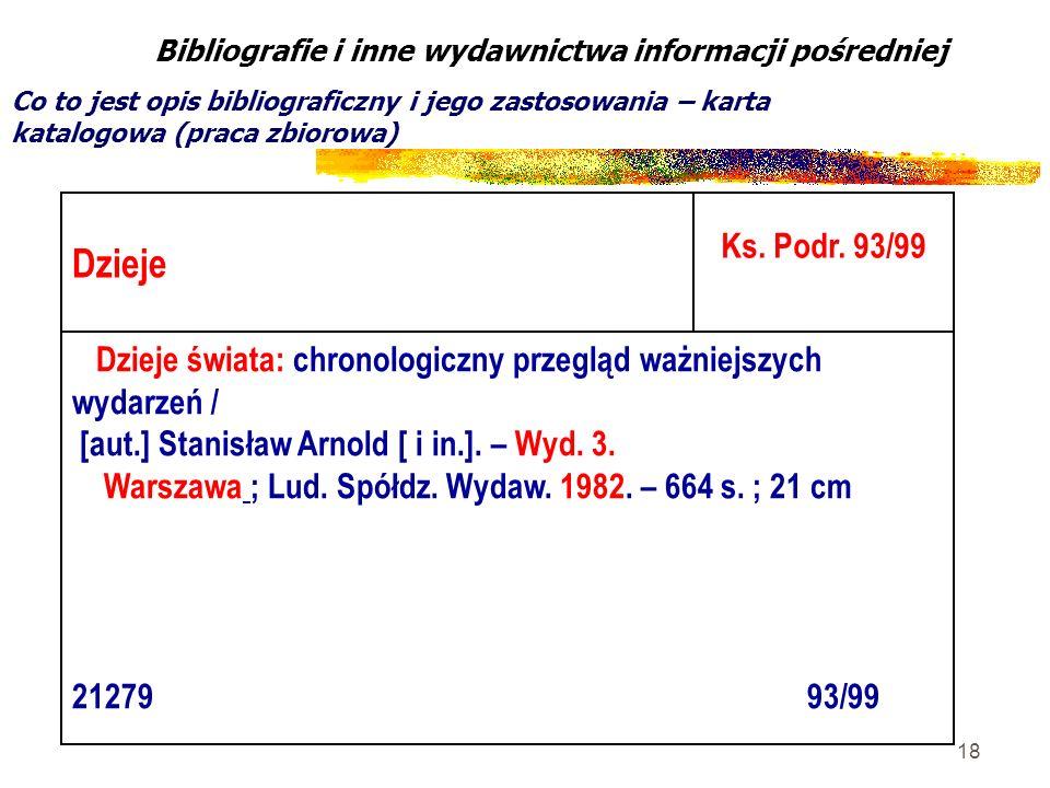 18 Bibliografie i inne wydawnictwa informacji pośredniej Co to jest opis bibliograficzny i jego zastosowania – karta katalogowa (praca zbiorowa) Dziej