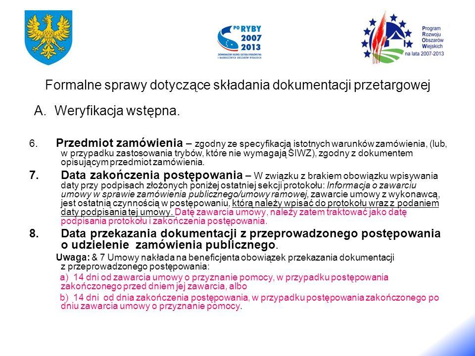 Formalne sprawy dotyczące składania dokumentacji przetargowej A.