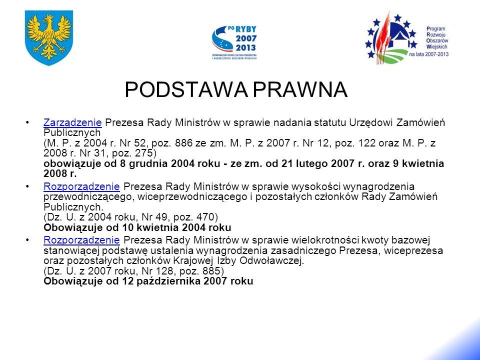 PODSTAWA PRAWNA Zarządzenie Prezesa Rady Ministrów w sprawie nadania statutu Urzędowi Zamówień Publicznych (M.