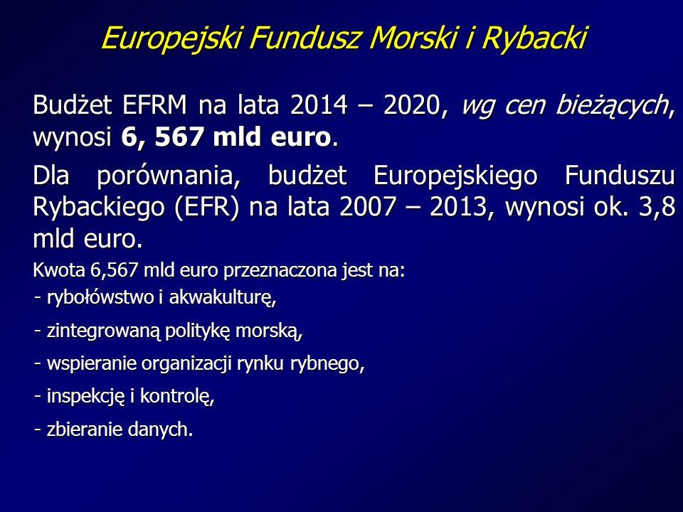 Europejski Fundusz Morski i Rybacki Budżet EFRM na lata 2014 – 2020, wg cen bieżących, wynosi 6, 567 mld euro.