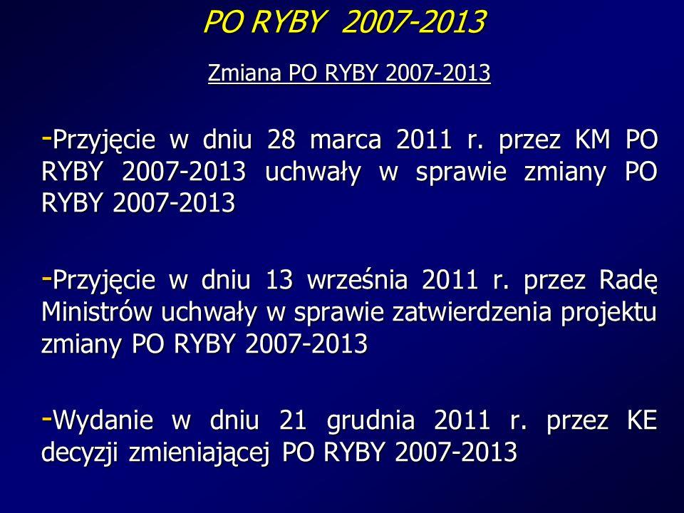 PO RYBY 2007-2013 Zmiana PO RYBY 2007-2013 - Przyjęcie w dniu 28 marca 2011 r.