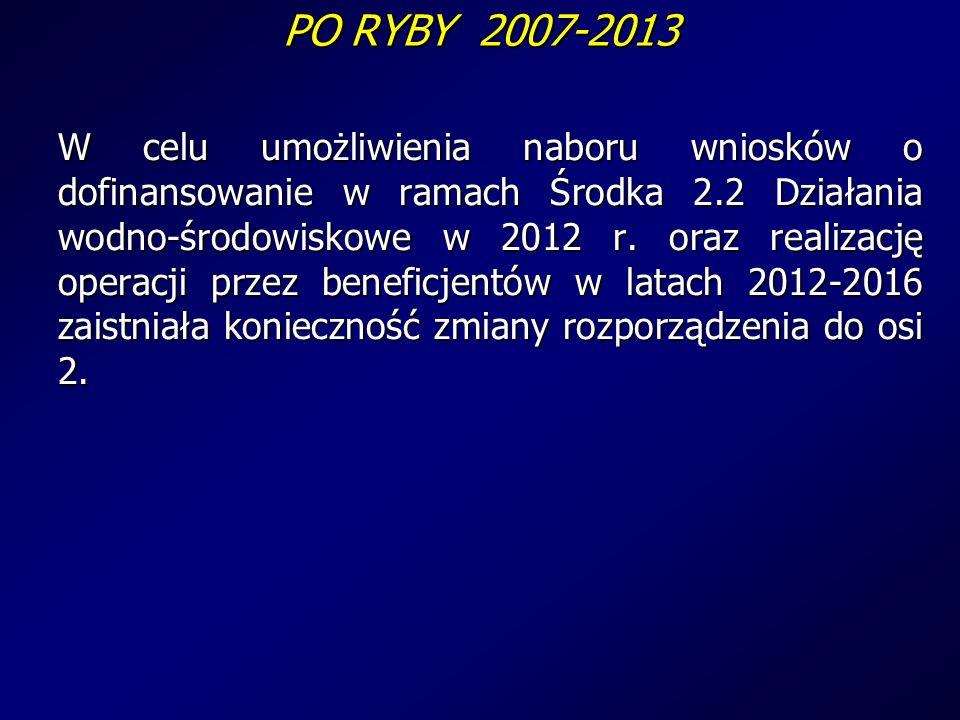 PO RYBY 2007-2013 W celu umożliwienia naboru wniosków o dofinansowanie w ramach Środka 2.2 Działania wodno-środowiskowe w 2012 r.