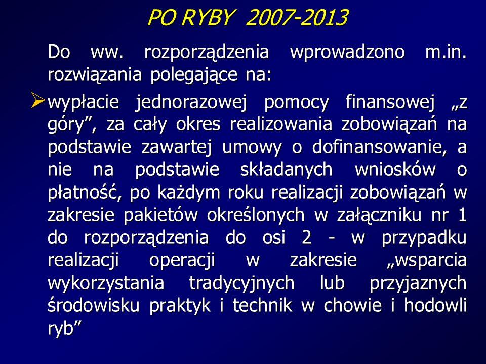 PO RYBY 2007-2013 PO RYBY 2007-2013 Do ww. rozporządzenia wprowadzono m.in.