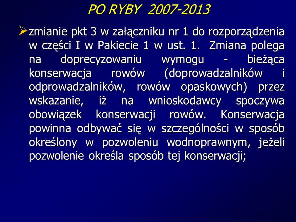 PO RYBY 2007-2013 zmianie pkt 3 w załączniku nr 1 do rozporządzenia w części I w Pakiecie 1 w ust.