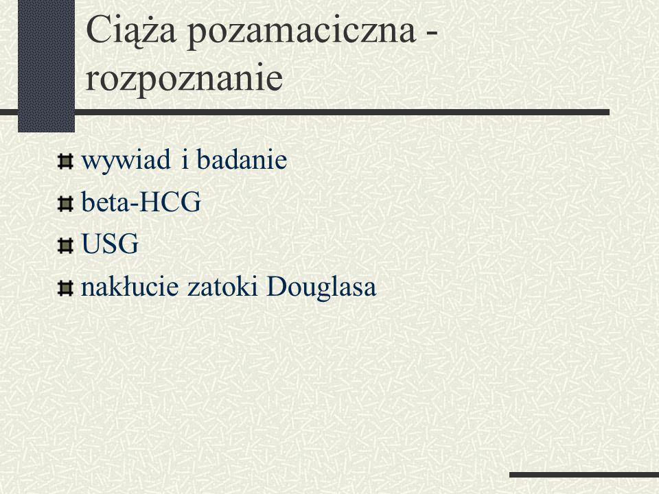 Ciąża pozamaciczna - rozpoznanie wywiad i badanie beta-HCG USG nakłucie zatoki Douglasa